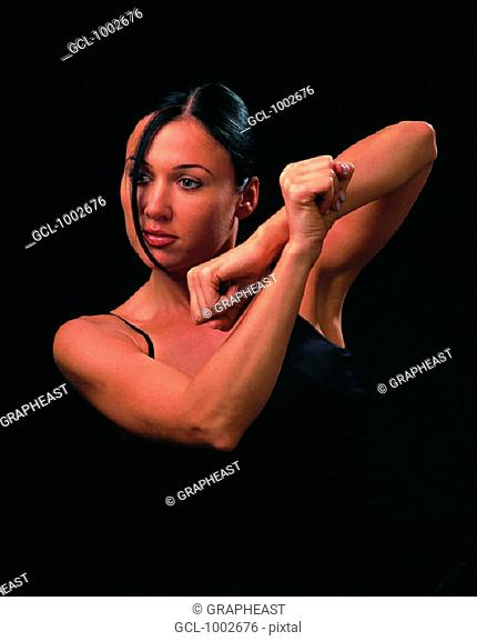 Woman in self-defense position