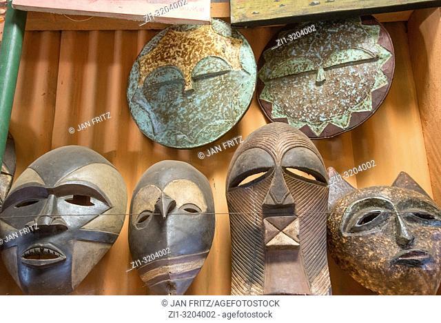 african masks in souvenirs shop in Kenya