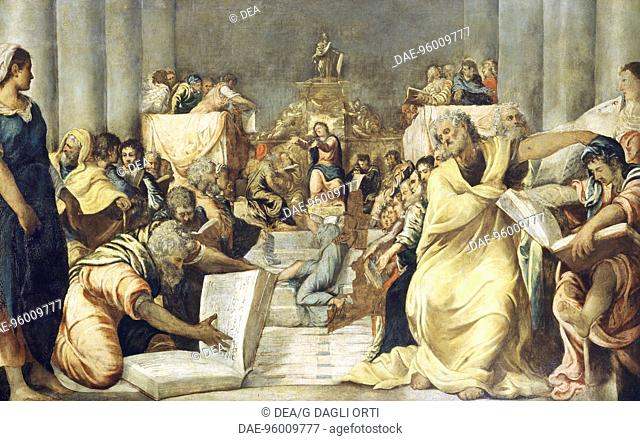 Jesus among the doctors in the Temple of Jerusalem, 1542-1543, by Jacopo Robusti known as Tintoretto (1519-1594), oil on canvas, 197x319 cm