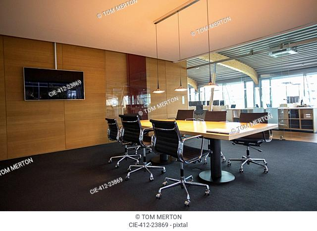Conference table in empty office meeting room