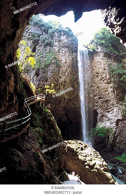 Staircase leading to waterfall, Yongtai County, Fuzhou City, Fujian Province, People's Republic of China