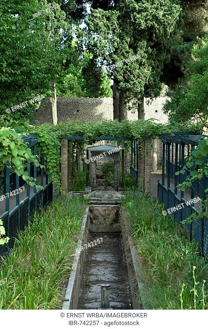 Small runnel flowing through the garden at the House of Octavius Quartio (aka House of Loreius Tiburtinus), excavations at Pompeii, Roman archaeological site