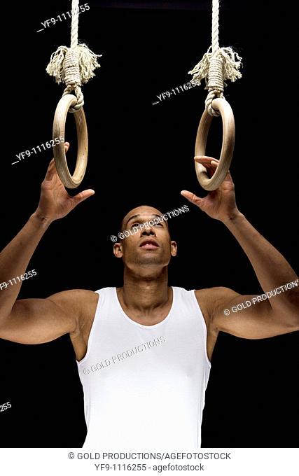 Gymnast man on Rings