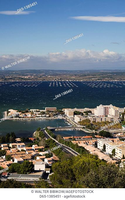 France, Languedoc-Roussillon, Herault Department, Sete, elevated view of the Bassin de Thau from Mont St-Clair