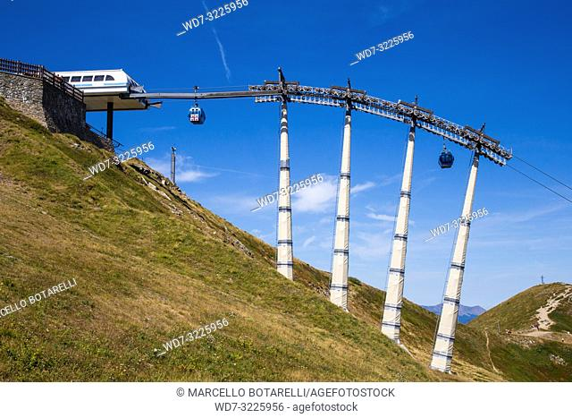 cableway in the mountains of Abetone, Gomito mountain, Pistoia, Tuscany, Italy, in summer
