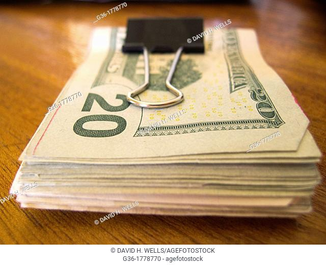 Opened wallet exposing money in Providence, Rhode Island, United States