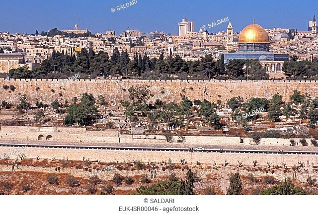Panorama of the Temple Mount, including the Dome of the Rock, from the Mount of Olives,Jerusalem,Israel