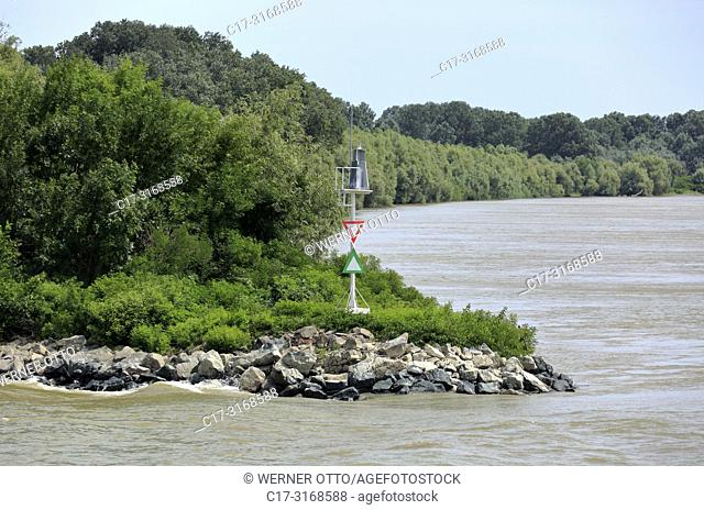 Tulcea, Danube navigation, shipping sign on a promontory with the warning sign division, fairway left and right, junction of the Sulina branch to the Saint...