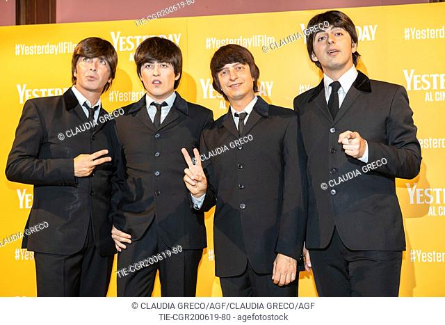 The Beatbox, tribute band to The Beatles during the photocall of film ' Yesterday ' in Milan, ITALY-20-06-2019