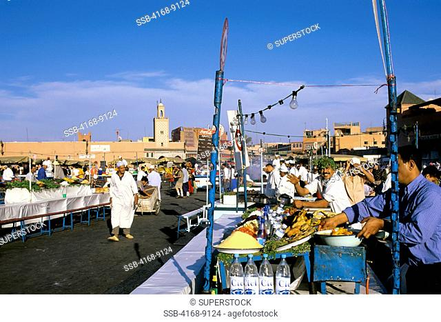 Morocco, Marrakech, City Square, Djemaa El-Fna Square, Food Stalls
