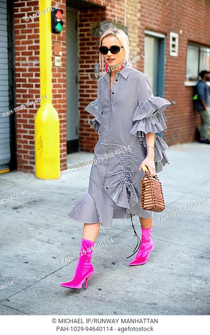 Julia Kuczynska walking outside of the Self Portrait runway show during New York Fashion Week - Sept 9, 2017 - Photo: Runway Manhattan/Michael Ip ***For...