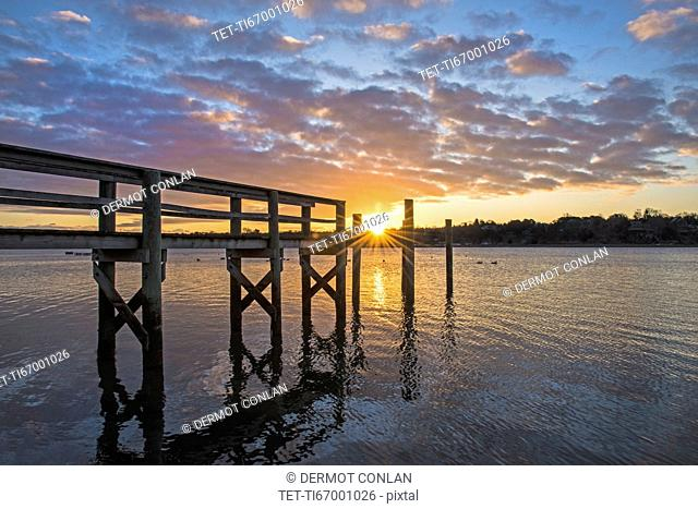 USA, Massachusetts, Cape Cod, Eastham, Jetty at sunrise