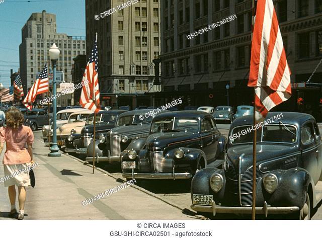 Street Scene with American Flags, Lincoln, Nebraska, John Vachon for Office of War Information, July 1942
