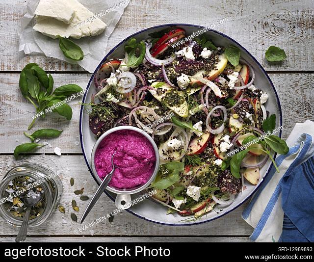 Salad with quinoa, apples, dill, basil, pumpkin seeds, beetroot hummus and feta