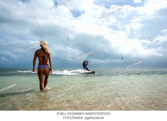 Kitesurfing lifestyle at Veterans Memorial Park - Little Duck Key, Florida, USA