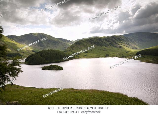 View over Haweswater reservoir in Mardale valley, Cumbria, UK