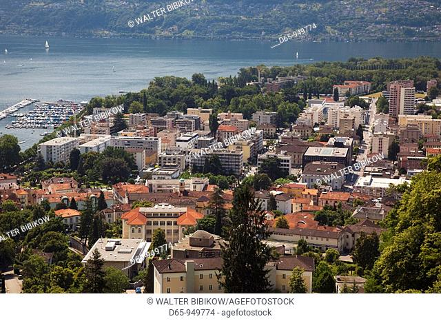 Switzerland, Ticino, Lake Maggiore, Locarno, high angle town view