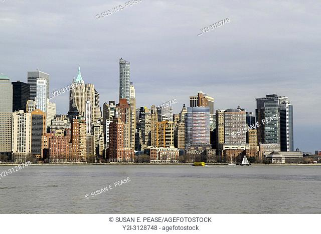 A view across the Hudson River to Lower Manhattan, New York, New York, United States