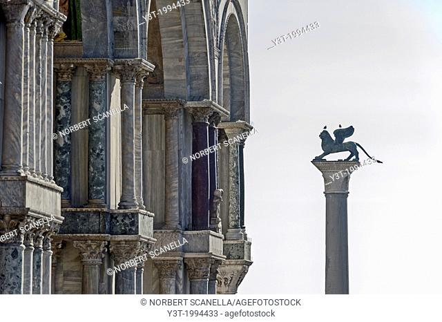 Europe, Italy, Veneto, Venice, classified as World Heritage by UNESCO. St. Mark's Square, the winged lion