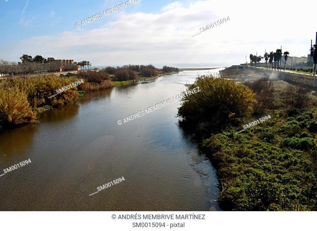 Delta of the river Besós Mediterranean sea in Spain