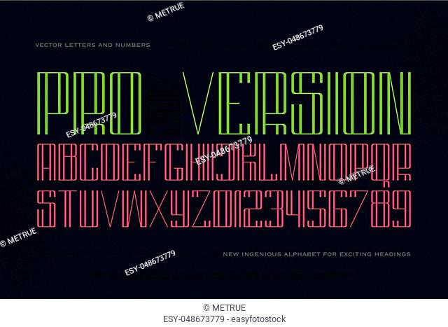high style alphabet letters and numbers isolated on dark background. vector font type design. thin line lettering symbols. stylish, tall typesetting