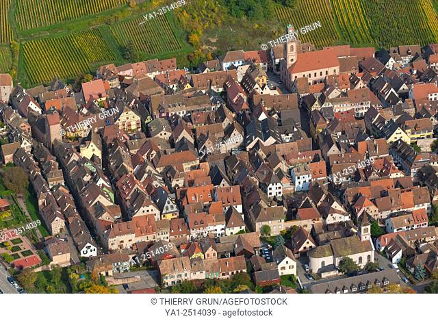 France, Haut Rhin 68, Wines road, village of Riquewihr, classified most French beautiful village aerial view