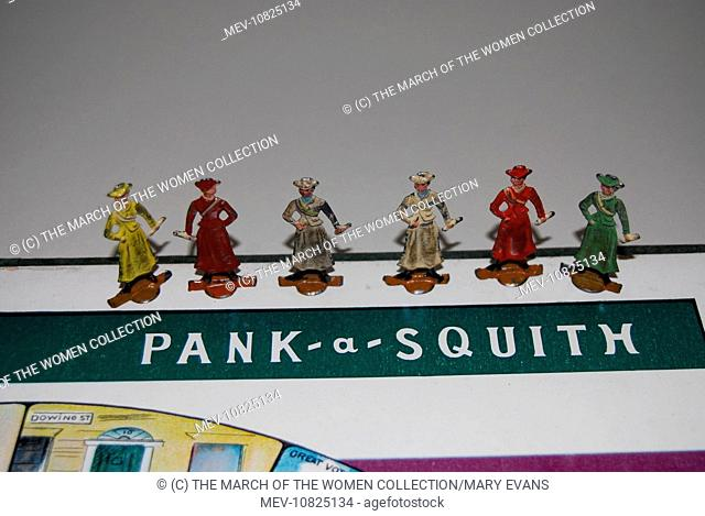 A suffragette board game called 'Pank-A-Squith' which was first advertised in the pages of 'Votes for Women', October 1909
