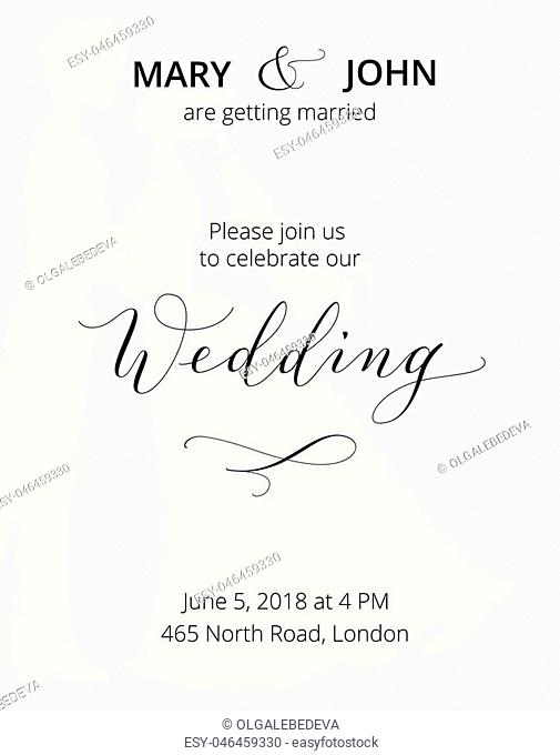Wedding invitation with bride and groom silhouettes and hand written custom calligraphy. Save the date card template. Free font used - Open Sans