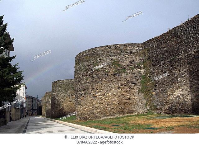 Lugo. Galicia. Spain. View of Roman walls from 'A Porta Do Campo Castelo'