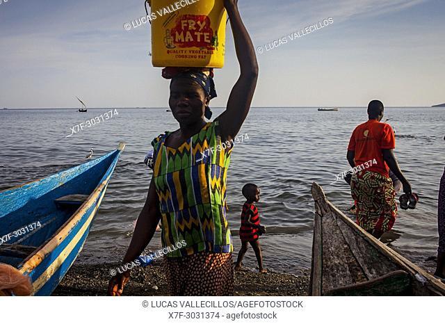 Port, the fishing village of Litari, Rusinga Island, Lake Victoria, Kenya