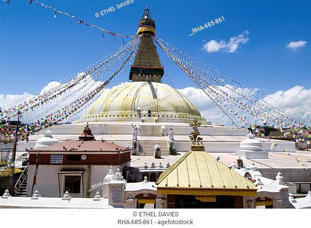 Boudhanath Bodhnath Stupa, UNESCO World Heritage Site, Kathmandu, Nepal, Asia