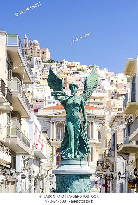 Victory statue in honour of the National Resistance in Ermoupoli town, Syros Island, Cyclades, Greece