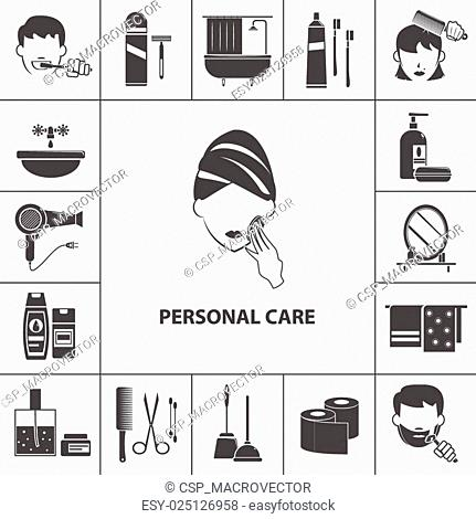 Personal care products icons composition poster