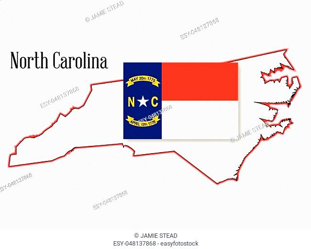 Outline map of the state of North Carolina with flag inset