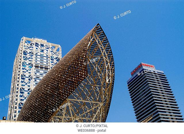 Mapfre Tower and Hotel Arts. Barcelona. Catalunya. Spain