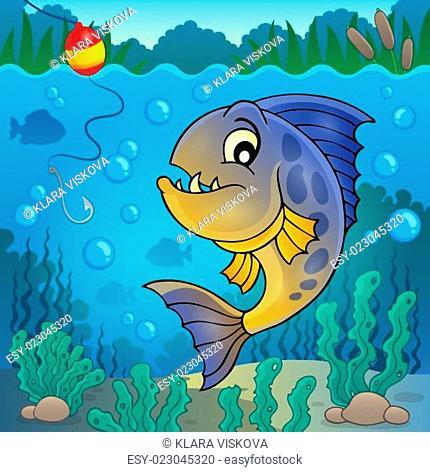 Piranha fish underwater theme 2
