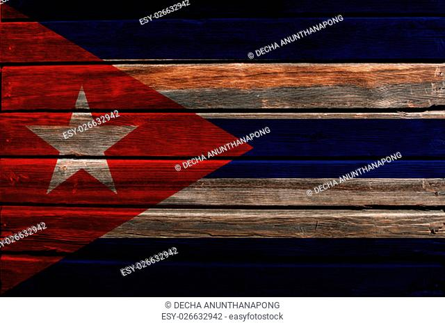 Flag of Cuba on a wood background