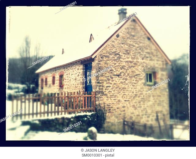French farm house in fresh winter snow