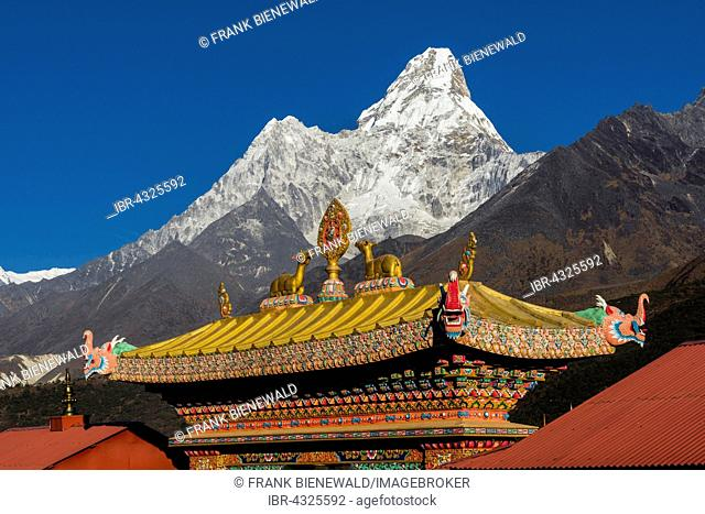 The entrance gate of the Tengboche Gompa monastery, Ama Dablam (6856m) mountain in the back, Tengboche, Solo Khumbu, Nepal