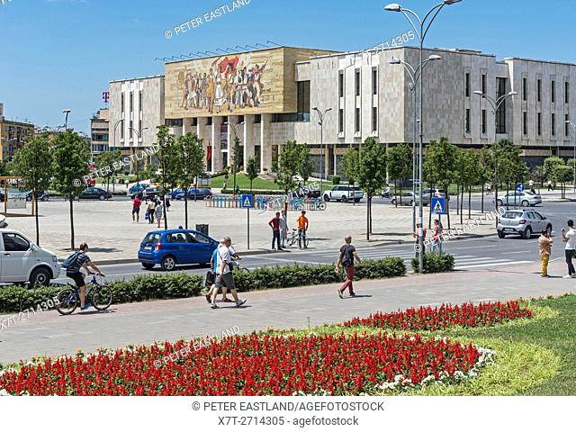 Looking across Skanderbeg Square to the National Historical Museum, Tirana, Albania,