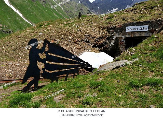 Iron shape of a miner pumping the bellows in the vicinity of Schneeberg, Ratschings, Trentino-Alto Adige, Italy