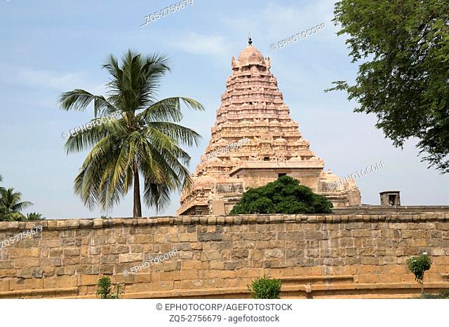 Outer wall and Gopuram, Brihadisvara Temple, Gangaikondacholapuram, Tamil Nadu, India. View from East