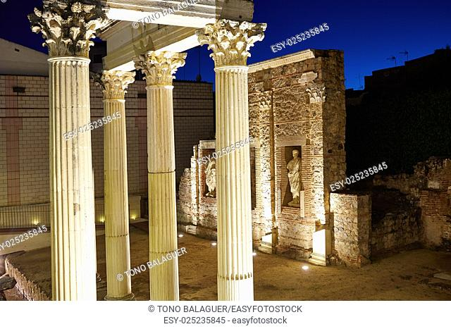 Merida in Badajoz Roman ruins at Spain Extremadura by Via de la Plata way