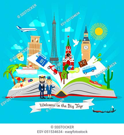 Travel Book Cartoon Open Tour Guide Book With Vector Trip Elements Stock Vector Vector And Low Budget Royalty Free Image Pic Esy 051534634 Agefotostock