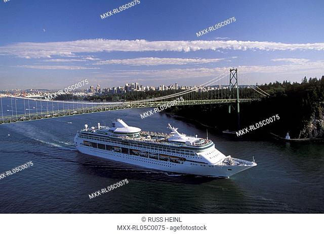 Cruise ship under the Lions Gate Bridge, Vancouver, British Columbia, Canada