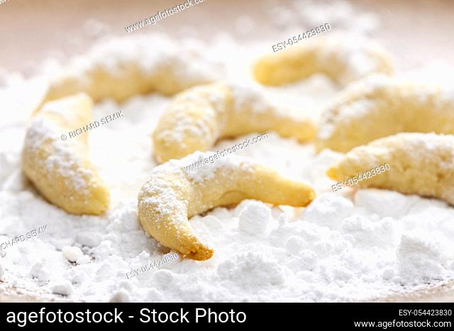 still life of christmas vanilla cookies