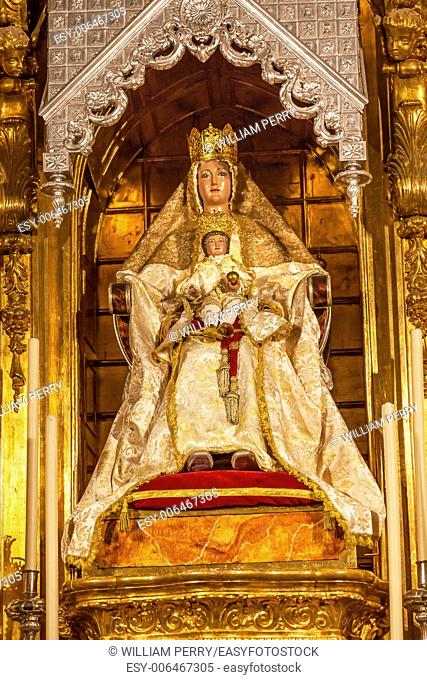 Mary Baby Jesus Crowns Statue Basilica Santa Iglesia Collegiata de San Isidro Madrid Spain. Named after Patron Saint of Madrid, Saint Isidore