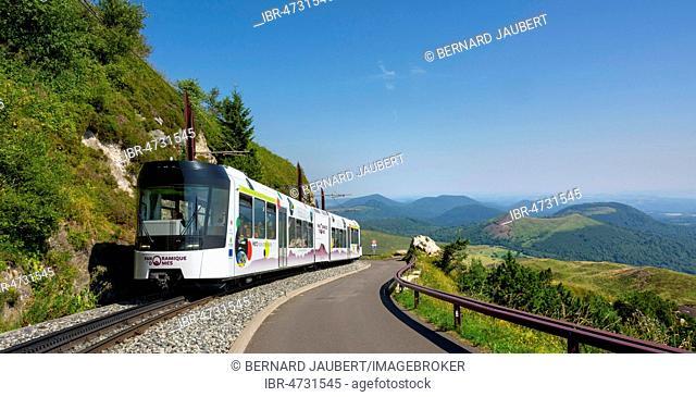 Panoramique des Domes, touristic train, Auvergne Volcanic Regional Nature Park, Puy de Dome Departement, Auvergne-Rhone-Alpes, France
