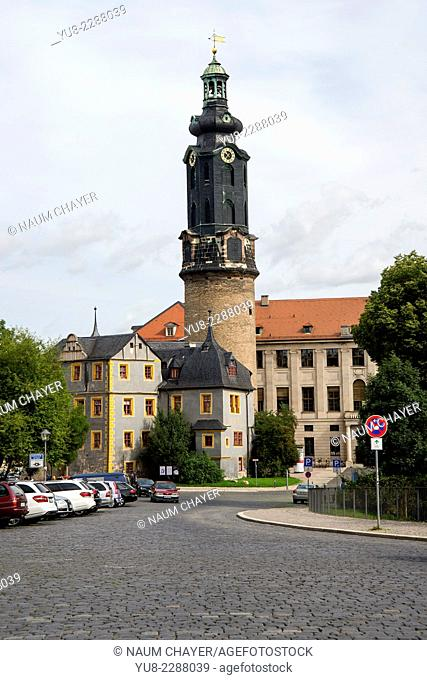 Tower and The Grand-Ducal Palace, Weimar, federal state of Thuringia, Germany, Europe