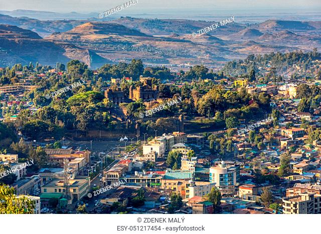 Panorama of city Gondar with Fasil Ghebbi, Royal fortress-city within Gondar, Ethiopia. Imperial palace castle complex is also called Camelot of Africa
